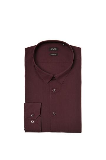 Camicia tinta unita, Rosso bordeaux, hi-res