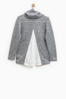 High-neck stretch pullover, Grey Marl, hi-res