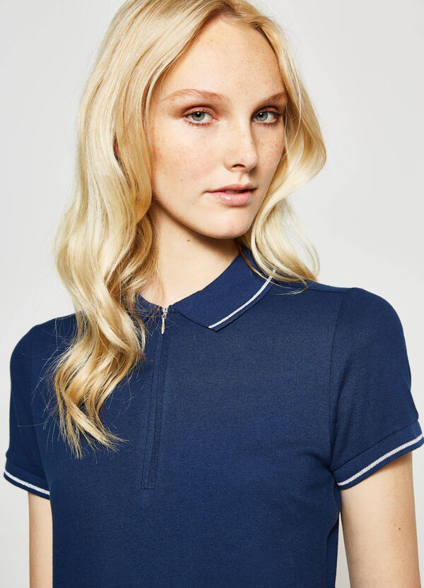 Stretch polo shirt with striped ribbing | OVS