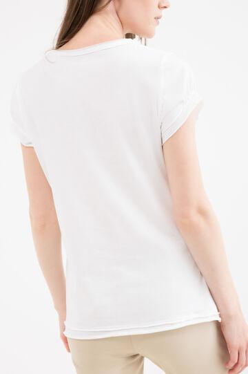Diamanté T-shirt in 100% cotton, White, hi-res