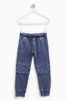 Pantaloni tuta effetto delavé, Blu, hi-res