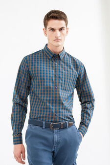 Check patterned casual shirt, Blue/Brown, hi-res