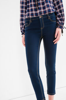 Cropped stretch jeans with 5 pockets, Dark Blue, hi-res