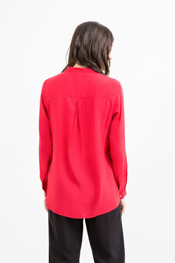 Solid colour 100% viscose blouse., Red, hi-res