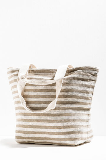Striped beach bag with zip, White/Grey, hi-res