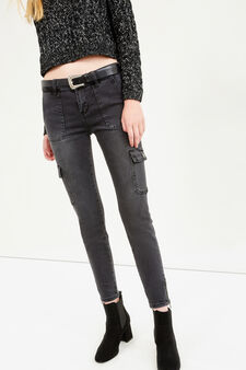 Ankle-fit jeans with pockets and zip, Black, hi-res