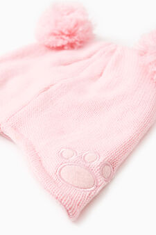 Beanie cap with patches, Pink, hi-res