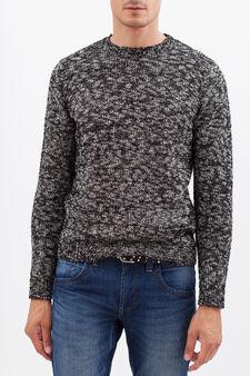 Mélange pullover, White/Black, hi-res