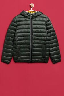 Solid colour real down jacket, Green, hi-res