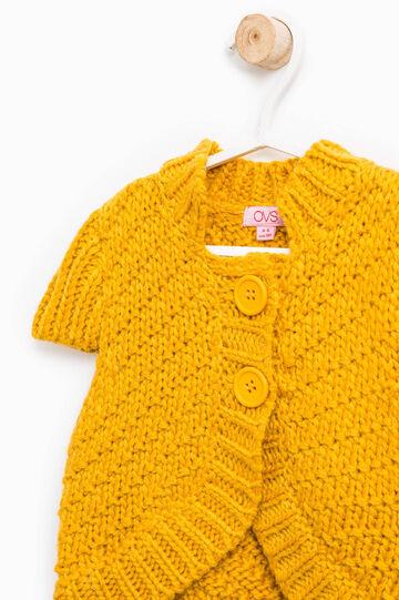 Wool blend knit cardigan, Ochre Yellow, hi-res