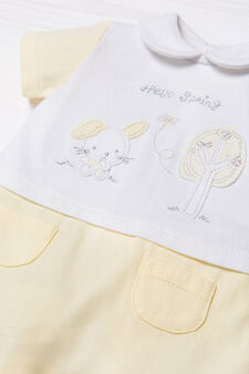 Embroidered onesie in 100% cotton, White/Yellow, hi-res