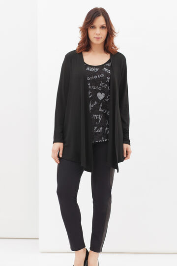 Curvy cardigan with buttonless opening, Black, hi-res