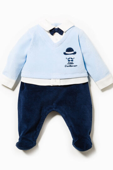 Onesie with faux layer and bow tie, Blue/Light Blue, hi-res