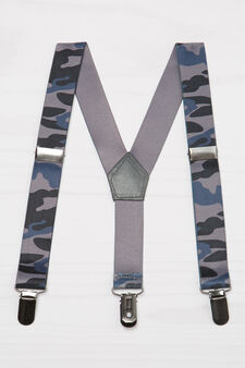 Stretch braces with camouflage pattern, Grey, hi-res