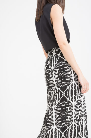 Long patterned skirt in 100% viscose, Black/White, hi-res