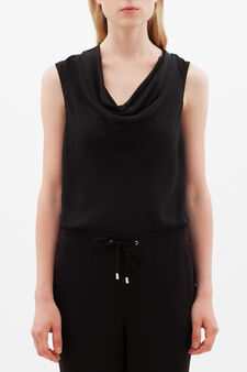 Blouse with drape neckline., Black, hi-res