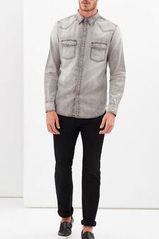 Denim shirt with pockets, Grey, hi-res