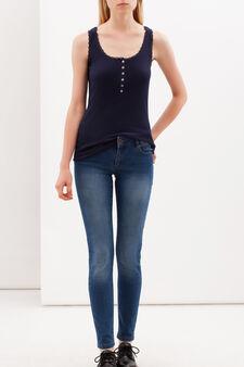 Vest with lace trim, Navy Blue, hi-res
