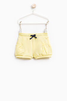Shorts cotone stretch con coulisse, Giallo, hi-res