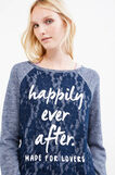 Cotton blend sweatshirt with printed lettering, Blue Marl, hi-res