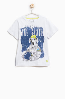 100% cotton T-shirt with astronaut print, Optical White, hi-res