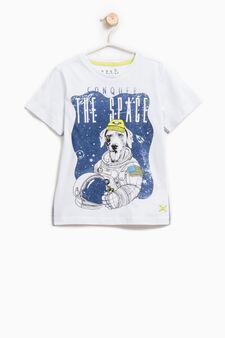 T-shirt puro cotone stampa astronauta, Bianco ottico, hi-res