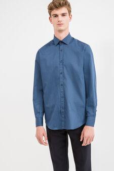Camicia formale regular fit cotone, Blu scuro, hi-res
