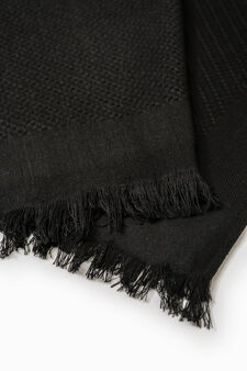 Knitted scarf with fringed edges, Black, hi-res