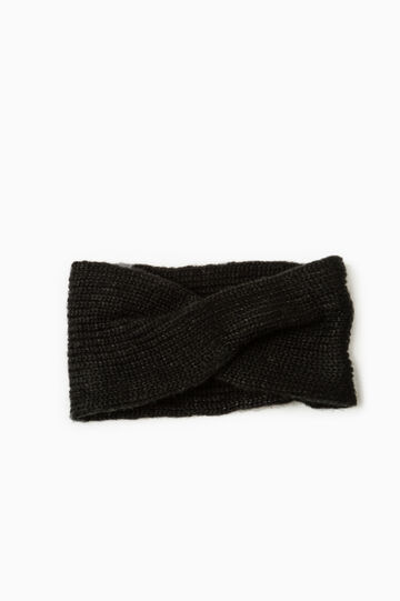 Cable knit neck warmer, Black, hi-res