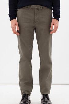 Pantaloni cotone stretch con zip Rumford, Grigio tortora, hi-res