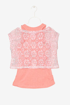 Openwork T-shirt with vest, Salmon, hi-res