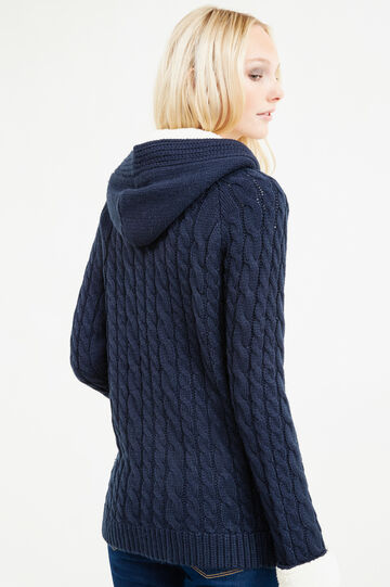 Cable knit cardigan with toggles, Blue, hi-res