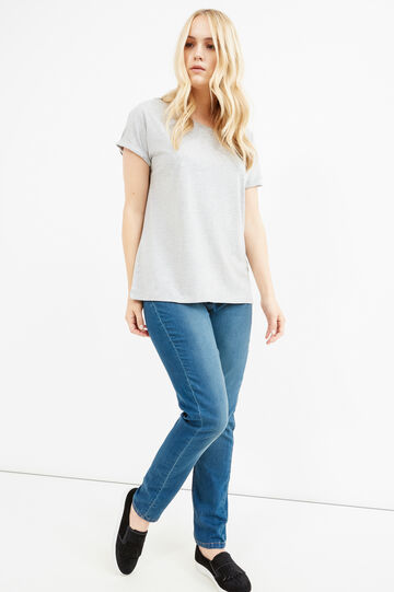 Curvy T-shirt with sleeves with turn-ups, Grey Marl, hi-res
