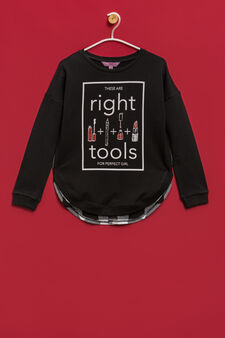 Printed sweatshirt with check pattern, Black, hi-res