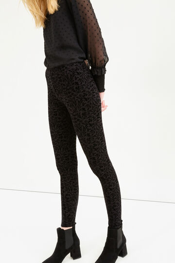 Leggings in stretch cotton with floral pattern, Black, hi-res