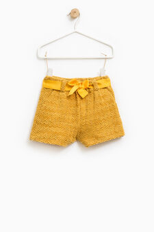 Stretch shorts with belt, Ochre Yellow, hi-res