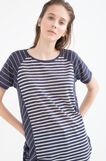 Cotton T-shirt with striped pattern, White/Blue, hi-res