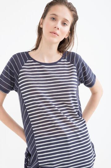 T-shirt fantasia a righe, Bianco/Blu, hi-res
