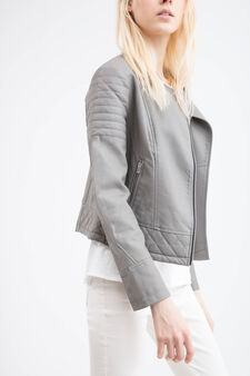 Leather look jacket with stitching, Grey, hi-res