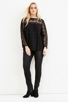 Curvy T-shirt with lace and voile lining, Black, hi-res