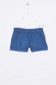 Solid colour denim shorts, Denim, hi-res
