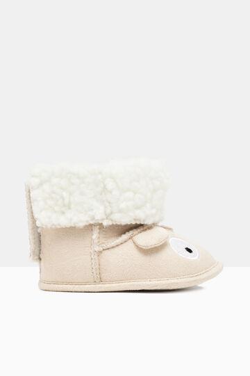 Soft toddler shoes with appliqué decoration, Beige, hi-res