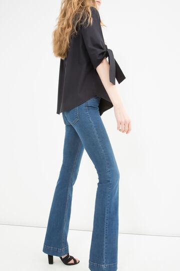 100% cotton blouse with laces, Black, hi-res