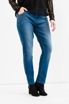 Jeans stretch con borchie Curvy, Blu, hi-res