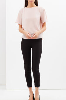 Crepe blouse with small studs, Light Pink, hi-res