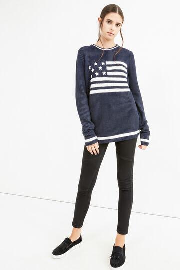 Pullover lavorato a tricot ricamato, Blu navy, hi-res