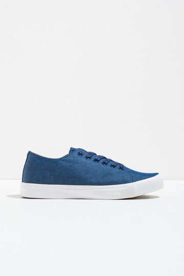 Canvas lace-up sneakers, Blue, hi-res