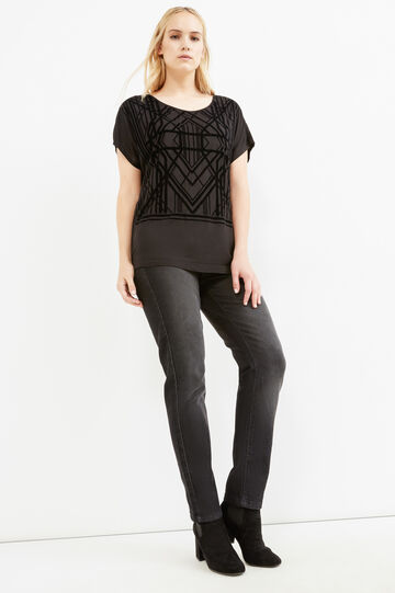 Curvy T-shirt with geometric print, Black, hi-res