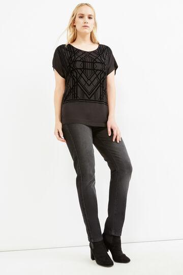 T-shirt stampa geometrica Curvy, Nero, hi-res