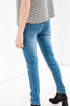 Ripped, skinny-fit stretch jeans, Dark Wash, hi-res